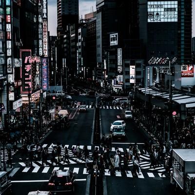 「新宿西口前のスクランブル交差点前の様子」の写真素材