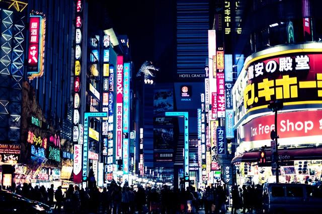 新宿歌舞伎町のゴジラロード(夜間)の写真
