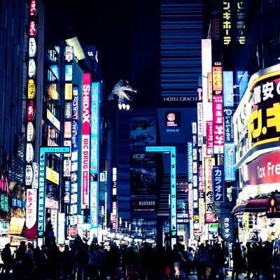 「新宿歌舞伎町のゴジラロード(夜間)」の写真素材