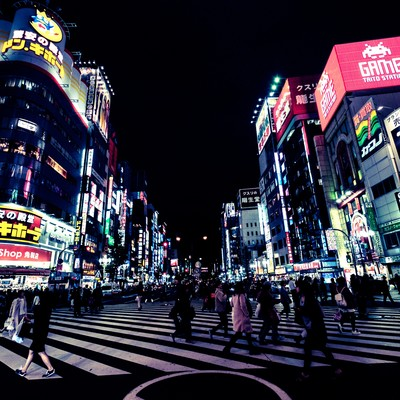 「歌舞伎町交差点と往来する人(夜間)」の写真素材