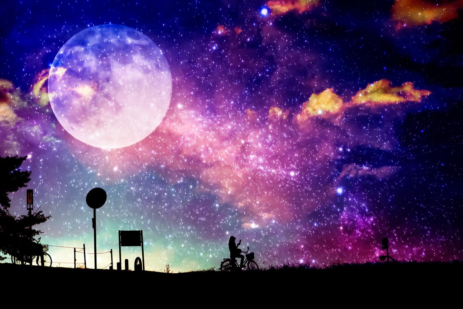 「満月を背に(フォトモンタージュ)満月を背に(フォトモンタージュ)」のフリー写真素材を拡大