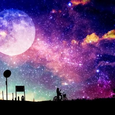 「満月を背に(フォトモンタージュ)」の写真素材
