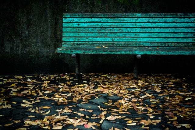 古びたベンチと落ち葉の写真