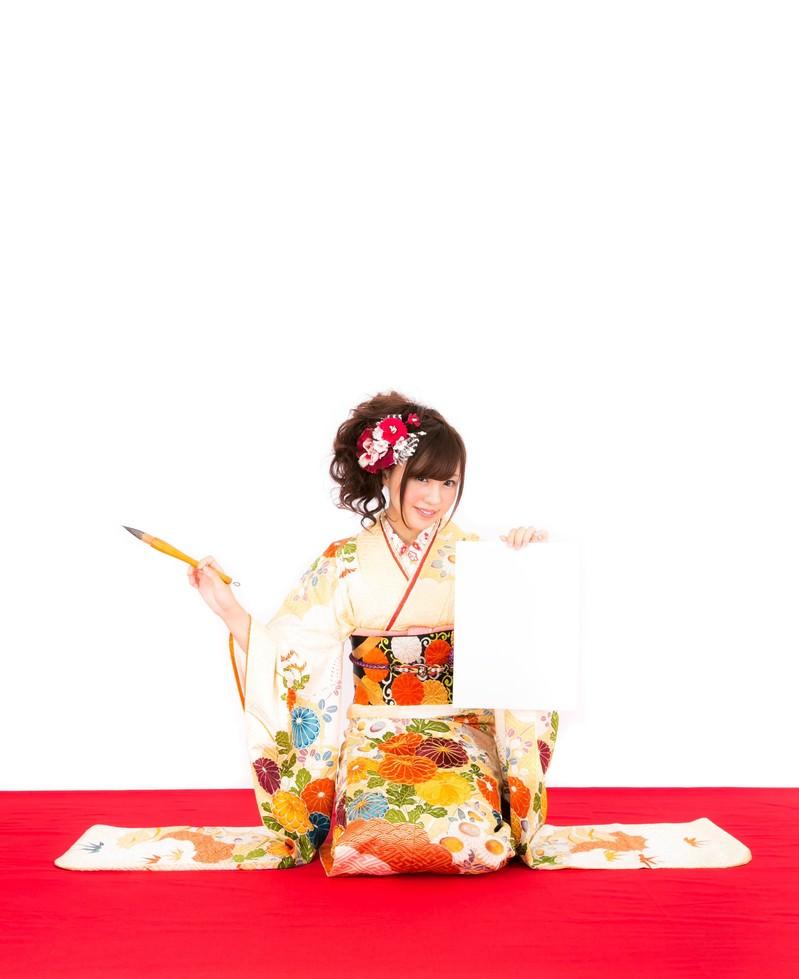 「新年の抱負を掲げるきもの着物の女性」の写真[モデル:河村友歌]