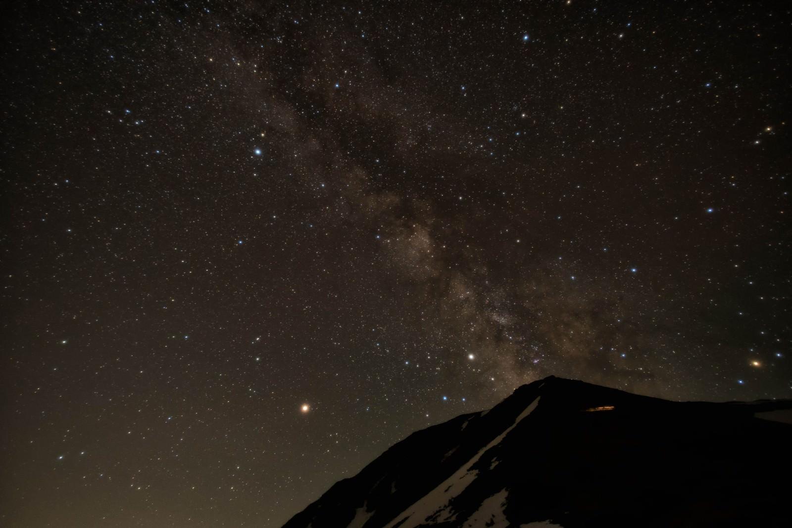 「常念岳から立ち上がる天の川」の写真