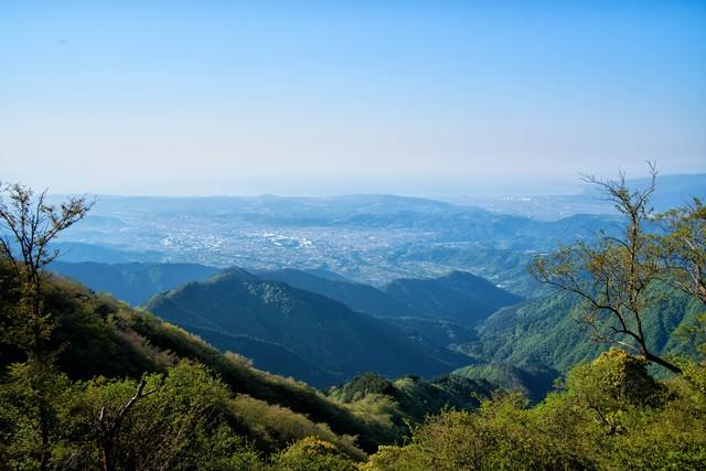 鍋割山から望む秦野市の街並みの写真