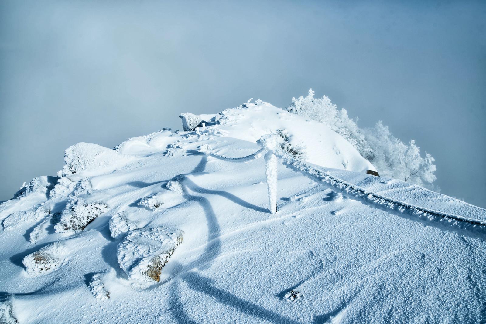 「付着した氷や雪がエビの尻尾状になったロープと伸びる影」の写真