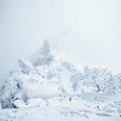 ガスに包まれた稜線と雪景色の写真