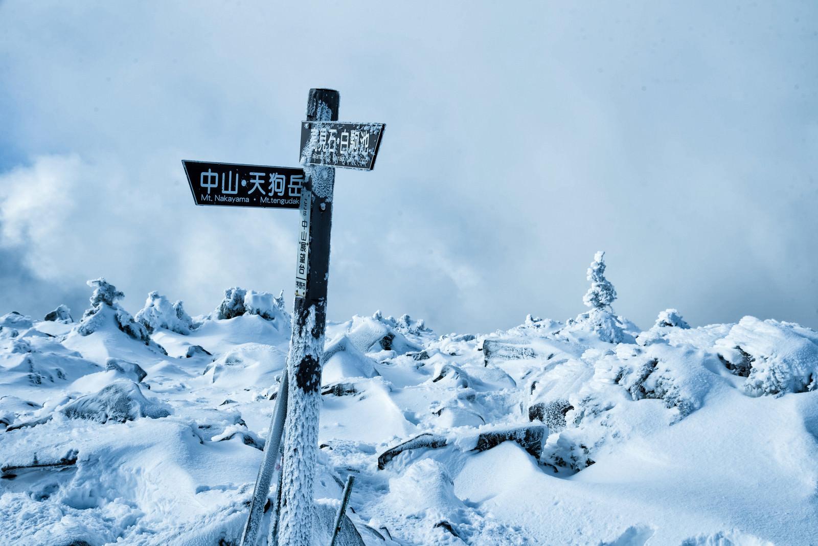 「厳冬期の中山峠展望台にある指導標」の写真