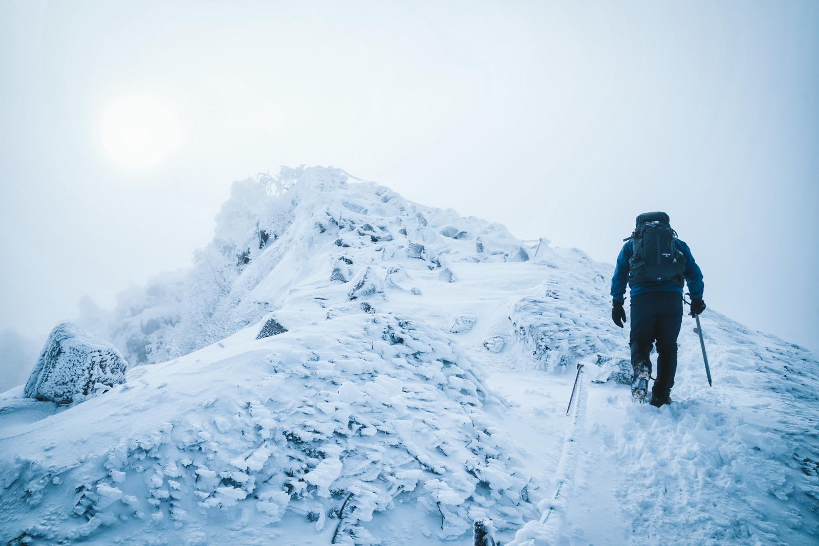 「厳冬期の天狗岳の頂上を目指す登山者」の写真