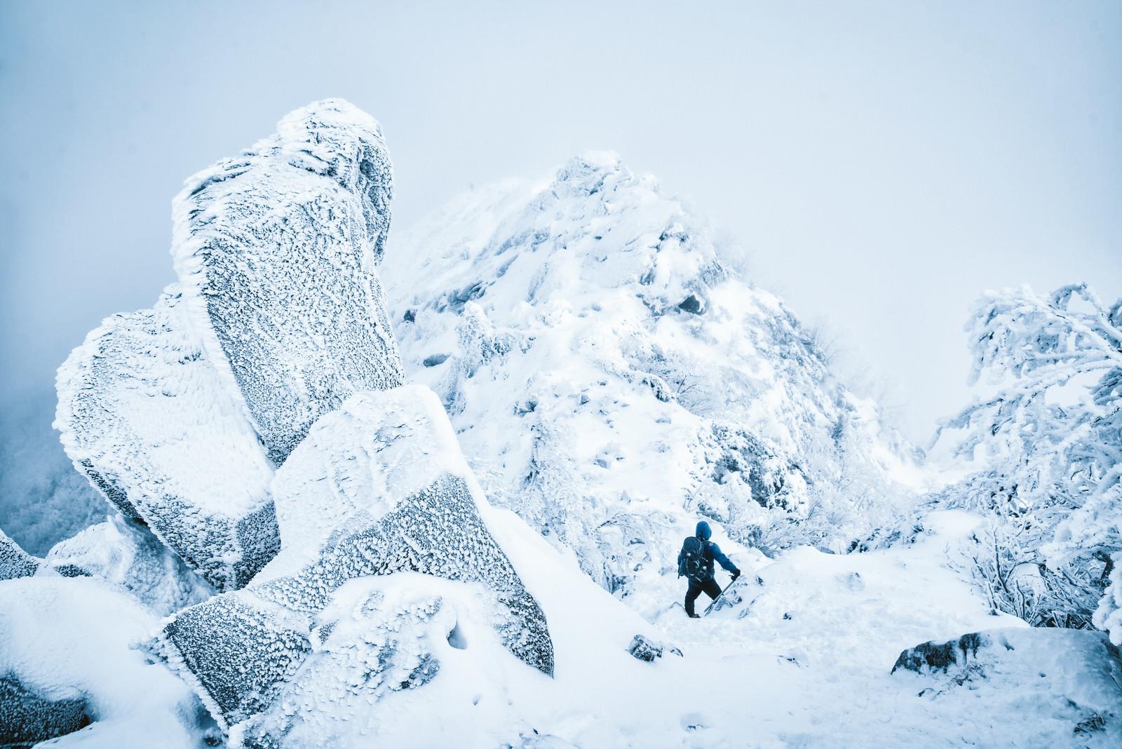 「吹雪く天狗岳の稜線と登山者」の写真