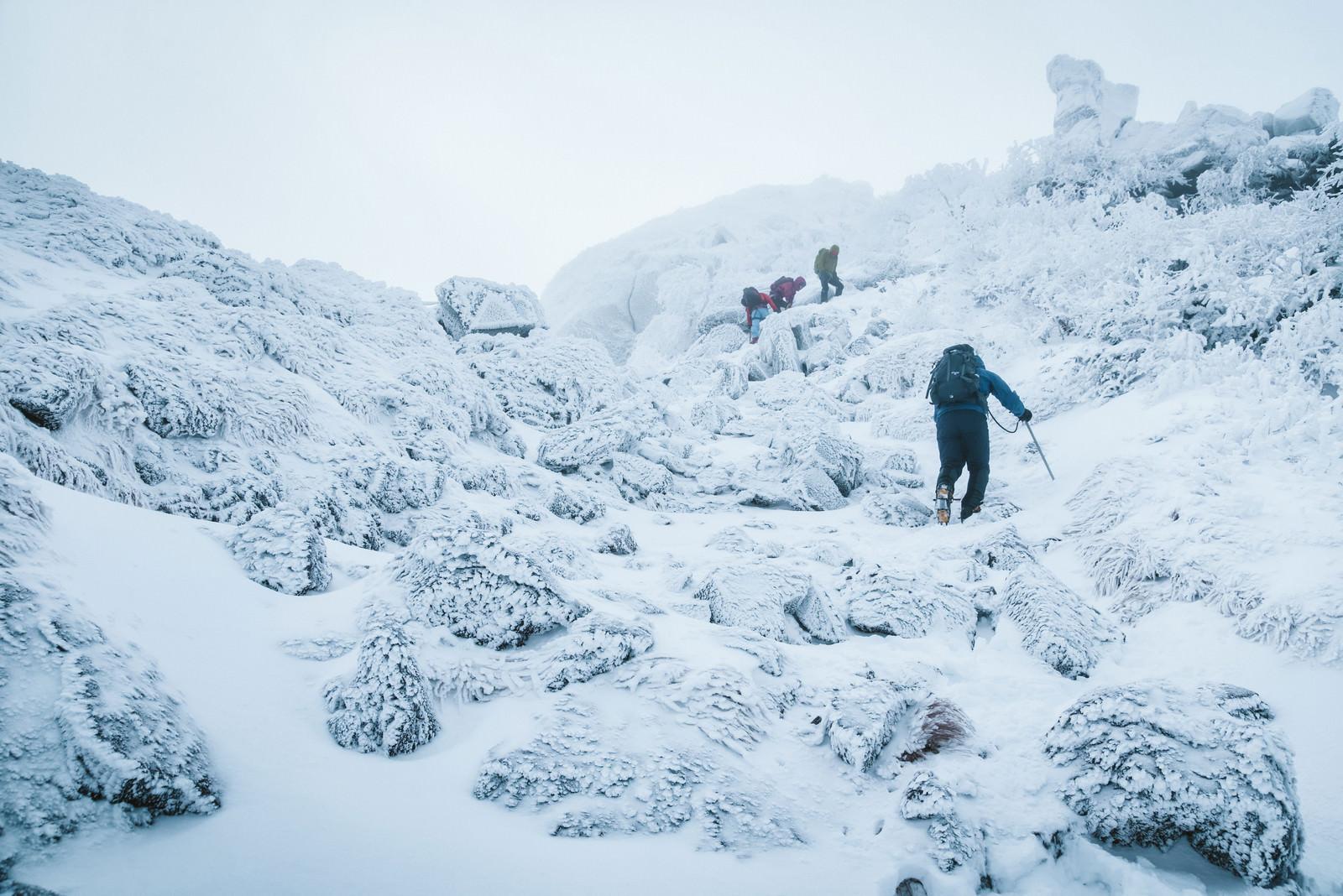 「悪天候の雪山に挑む登山者達」の写真