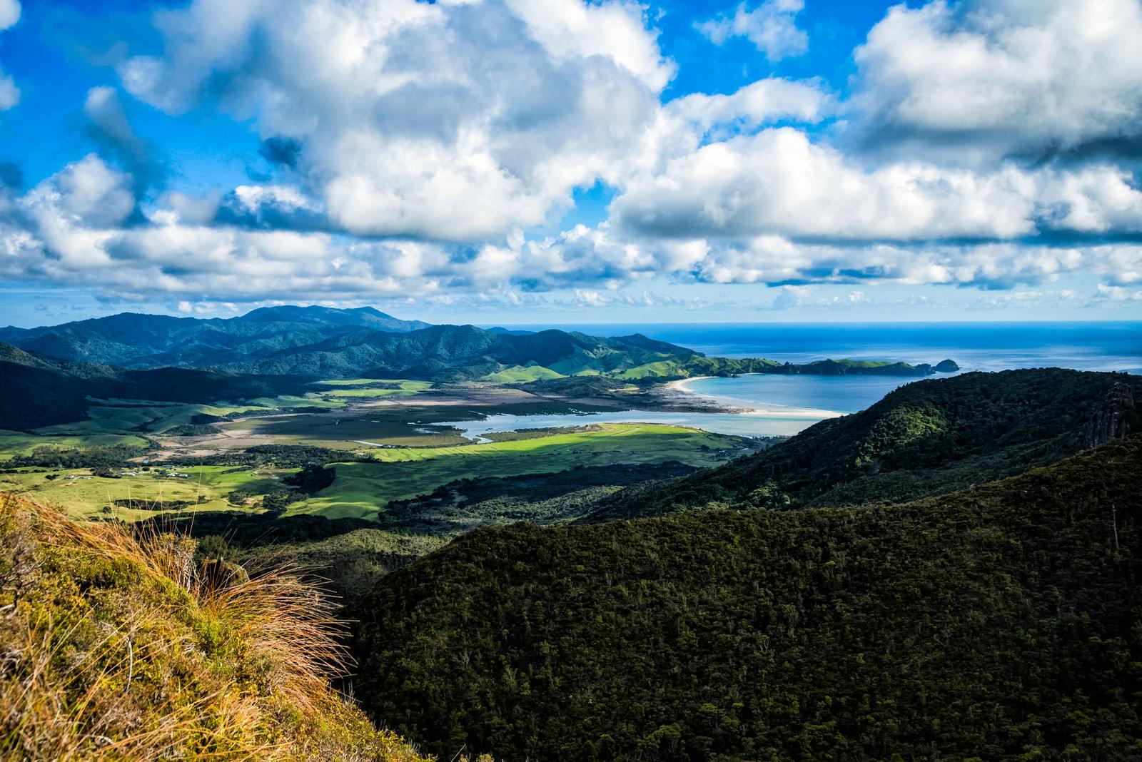 「アオテアの高台から望むビーチ(ニュージーランド)」の写真