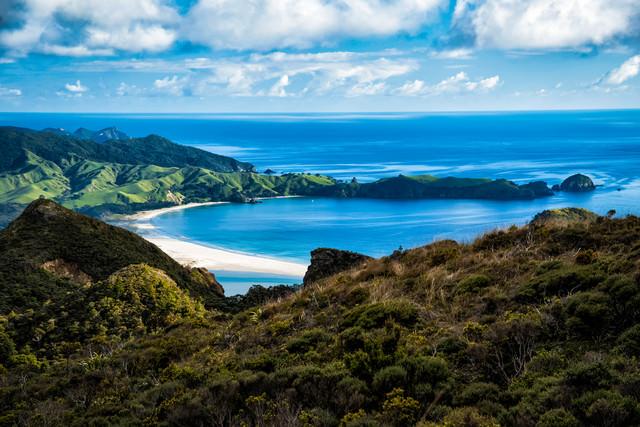 アオテアトレックから見える美しいビーチ(ニュージーランド)の写真