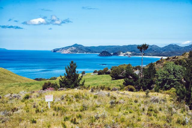 グレートバリア島の海岸を一望出来る売地(ニュージーランド)の写真