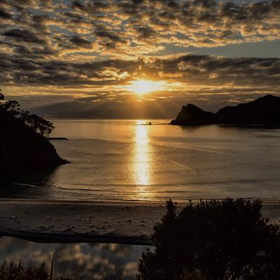 グレートバリア島の浜辺まで延びるレイラインと朝日(ニュージーランド)の写真