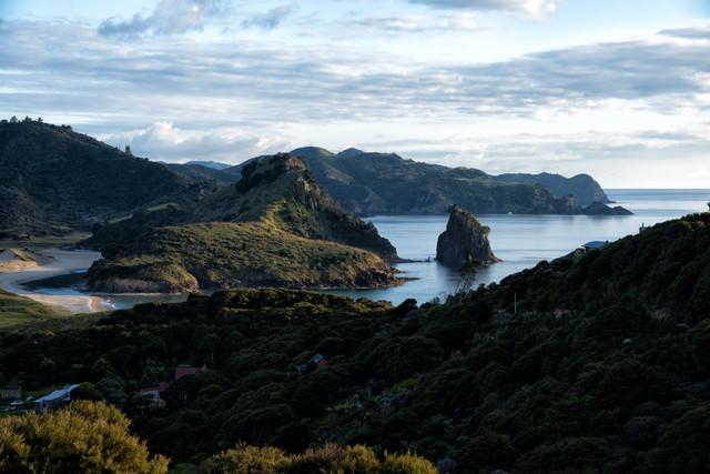 グレートバリア島の海岸沿いからの眺め(ニュージーランド)の写真