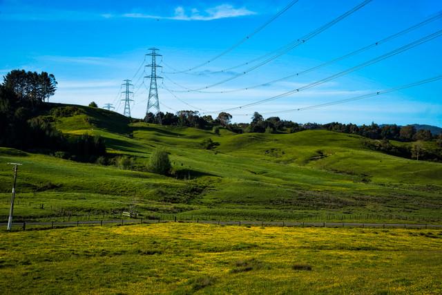 ニュージーランド郊外まで延びる送電線の写真