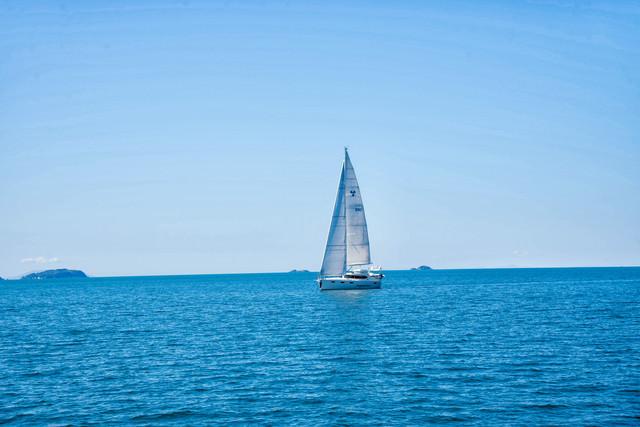 帆を立ててハウラキ湾を進むヨット(ニュージーランド)の写真