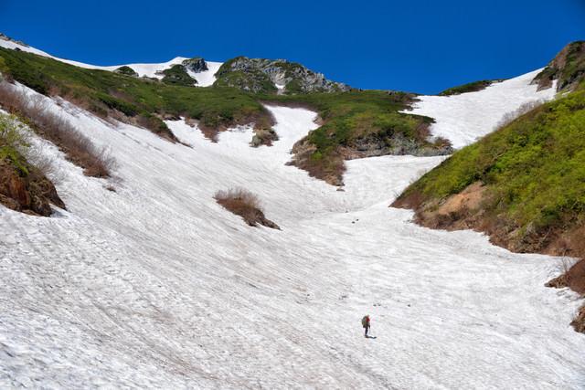 針ノ木岳の雪渓に挑む登山者の写真