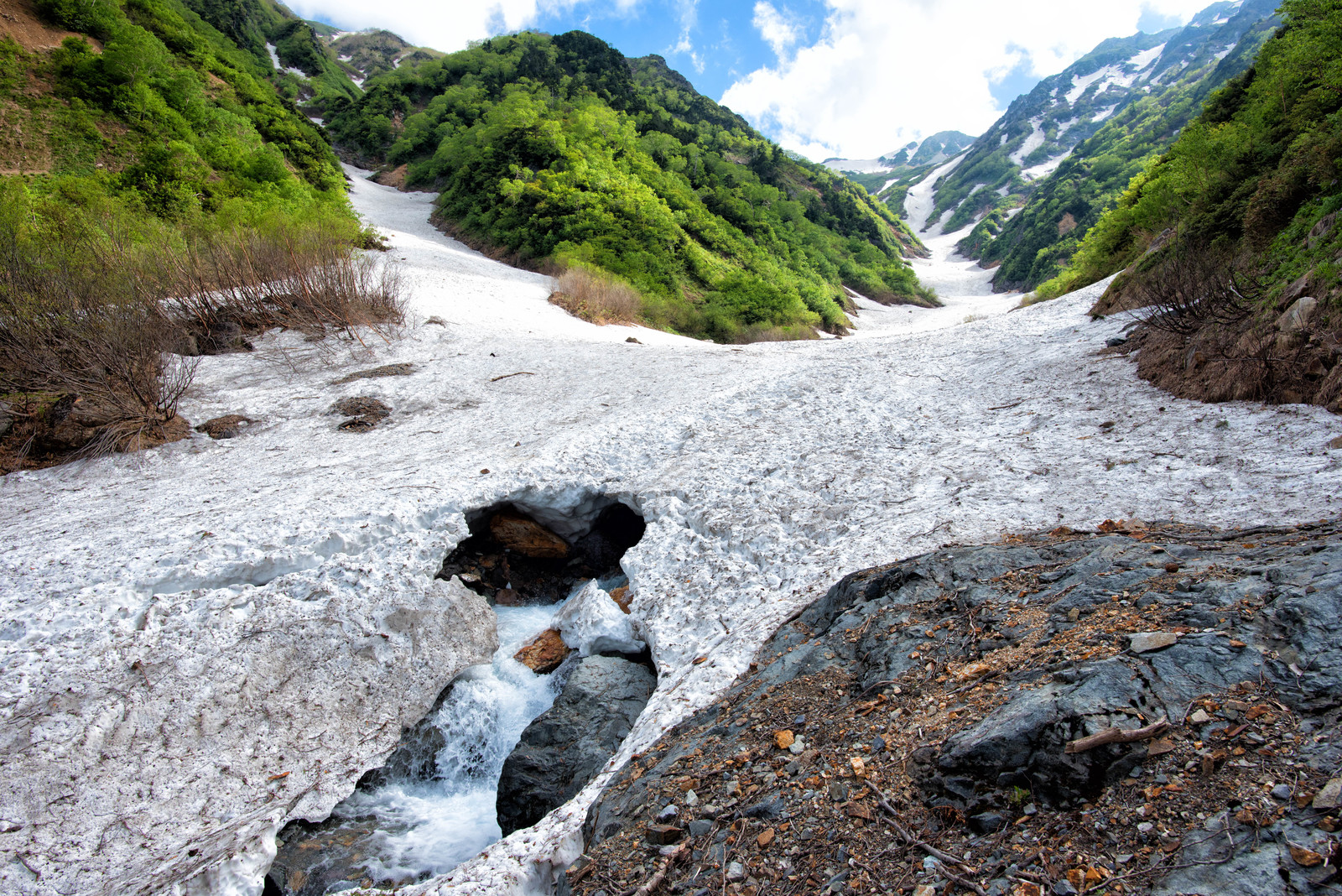 「雪解けの針ノ木大雪渓の下を流れる川」の写真