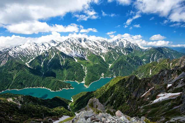 針ノ木岳山頂の大パノラマ(新緑期)の写真
