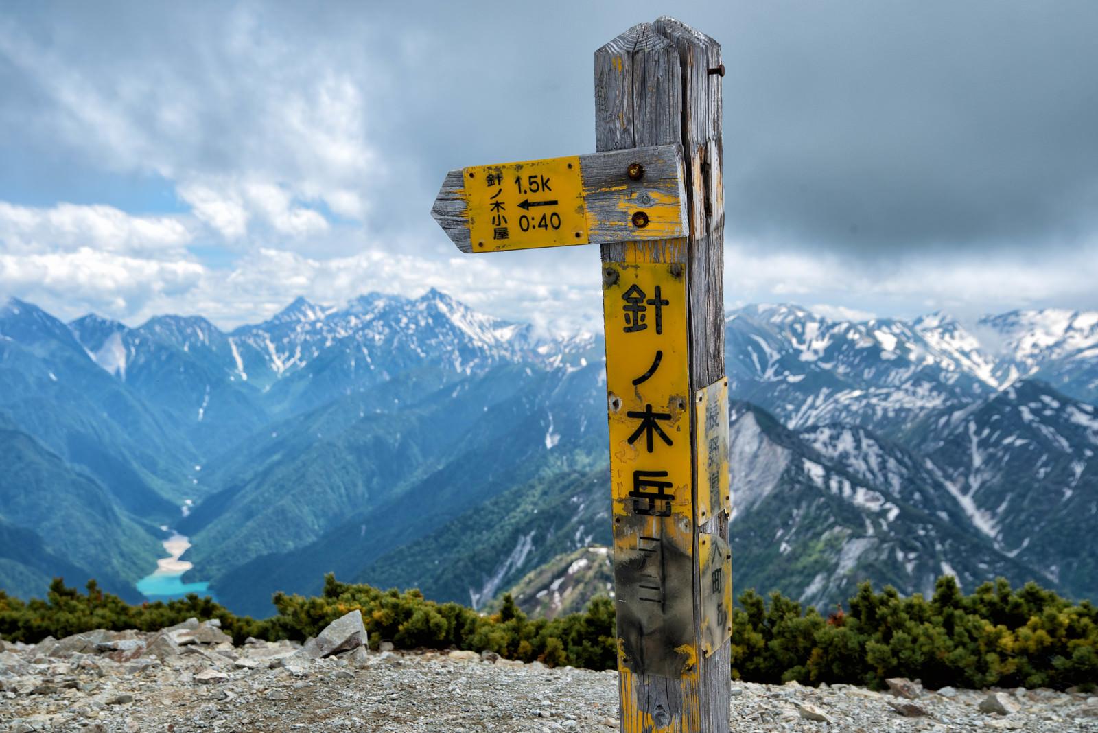 「針ノ木岳山頂にある山頂標(北アルプス)」の写真