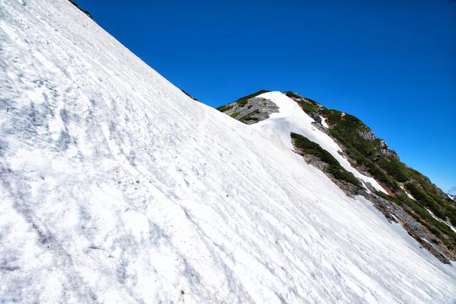 針ノ木岳山頂直下の残雪(北アルプス)の写真