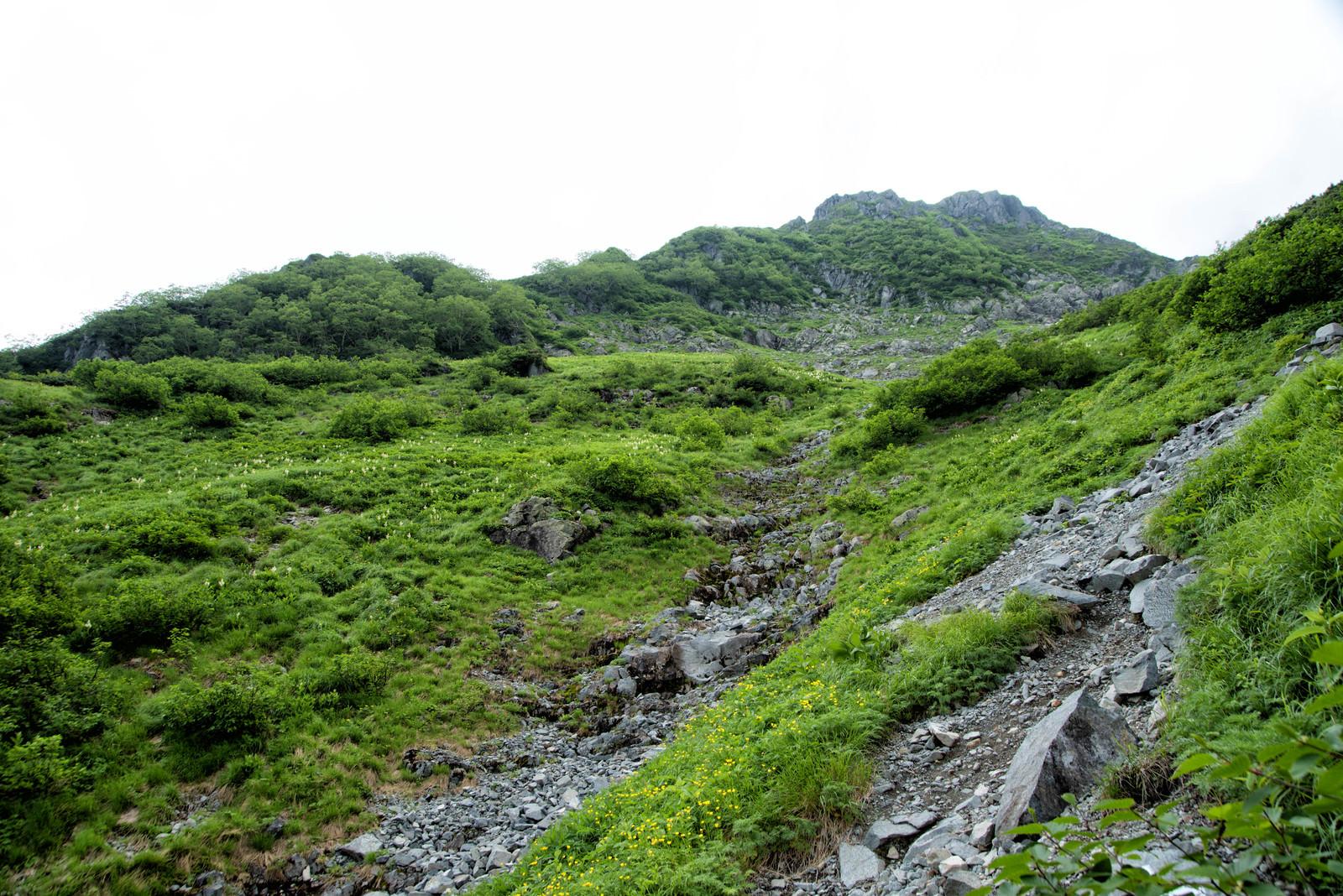 「北穂高南陵への取り付き地点」の写真