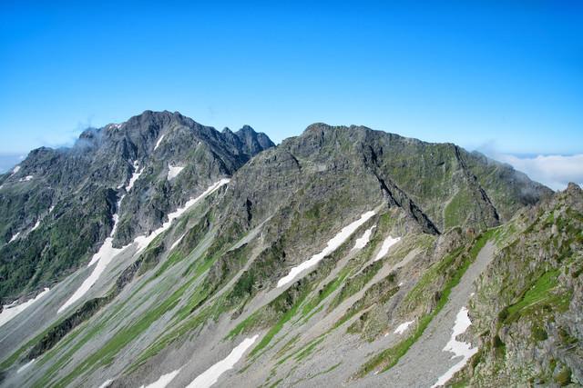 北穂高岳から眺める涸沢岳と奥穂高岳の岩峰の写真