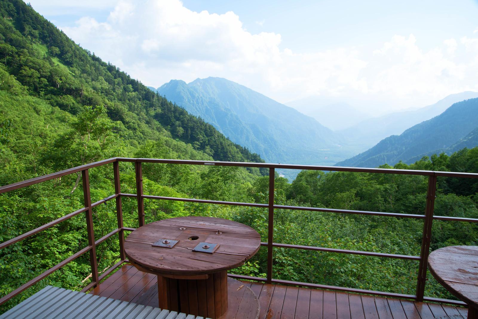 「上高地を望むテラス(岳沢山荘)」の写真