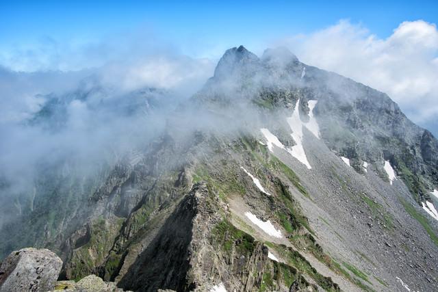 涸沢槍から眺める北穂高岳(北アルプス)の写真