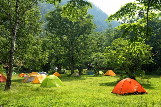 色とりどりのテント(徳澤キャンプ場)の写真