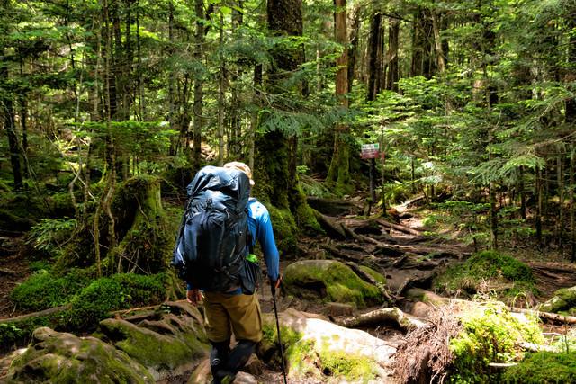 険しい山中を歩く登山者の写真