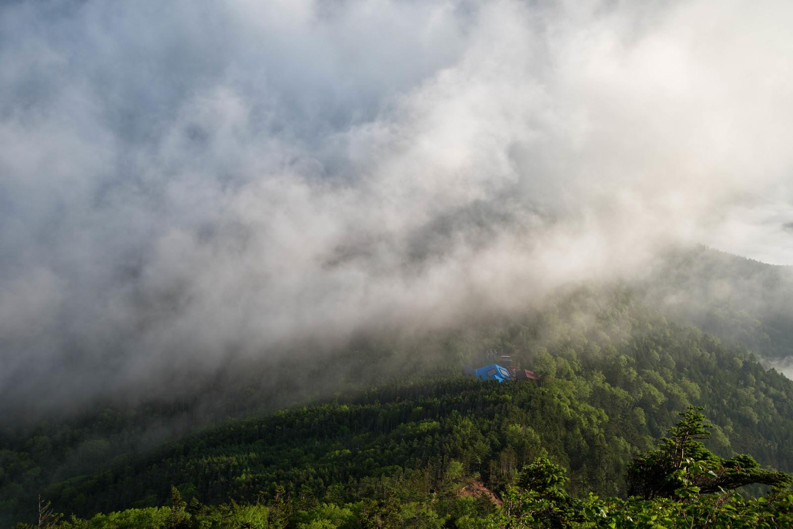 「雲に飲み込まれる森の中の本沢温泉」の写真
