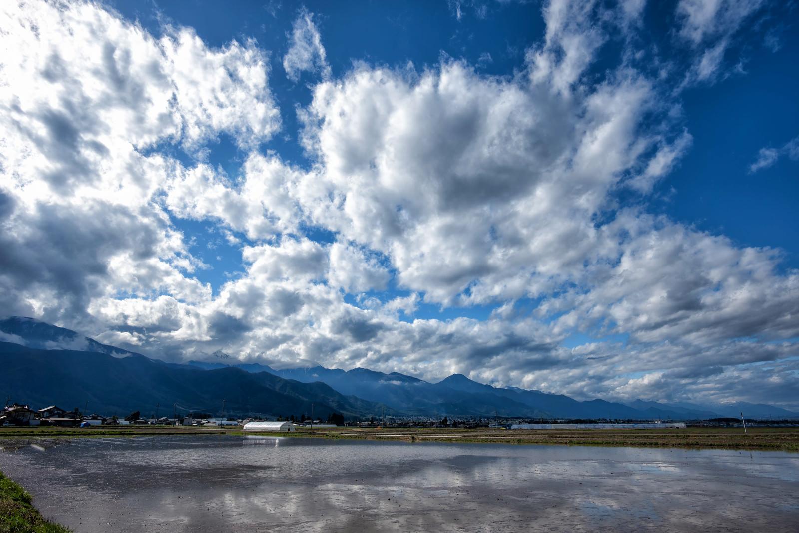 「安曇野市の水田に映り込む青空」の写真