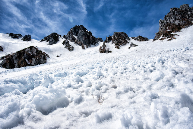 雪崩跡に鋭く突き出す岩の写真