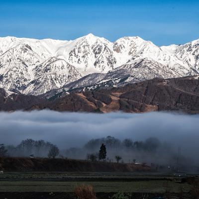 雲海にのまれる麓の村と白馬三山の写真