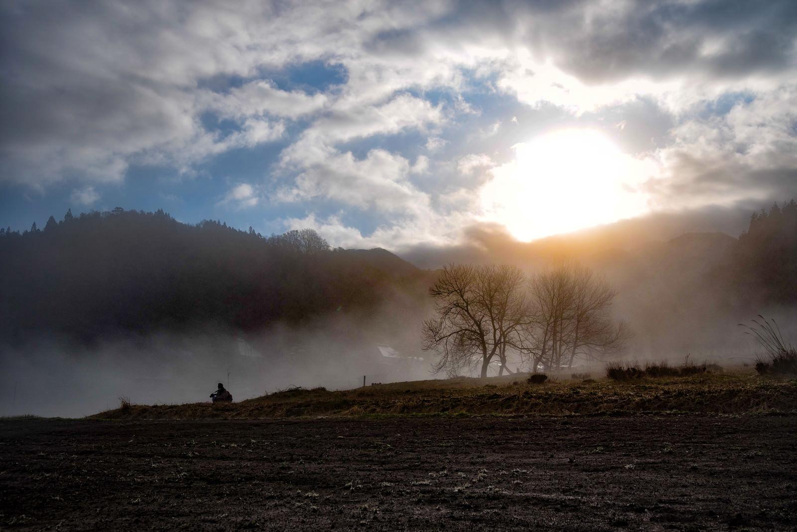 「霧に包まれる野平の畑(長野県)」の写真