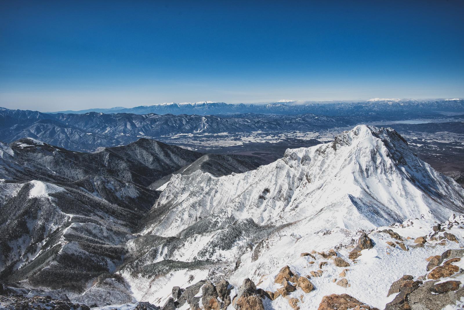 「冬季の赤岳山頂からの眺望」の写真