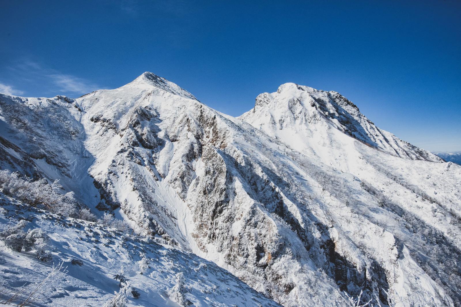 「冬の中岳と阿弥陀岳」の写真