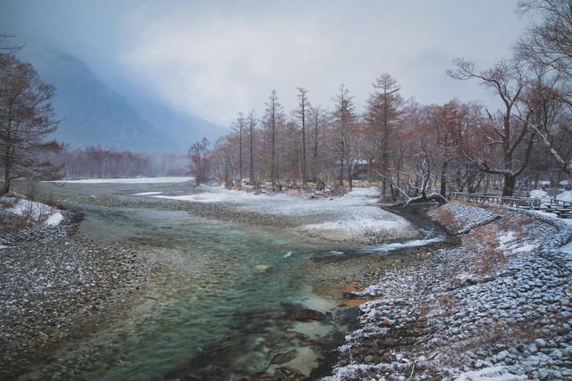 上高地の雪景色の写真