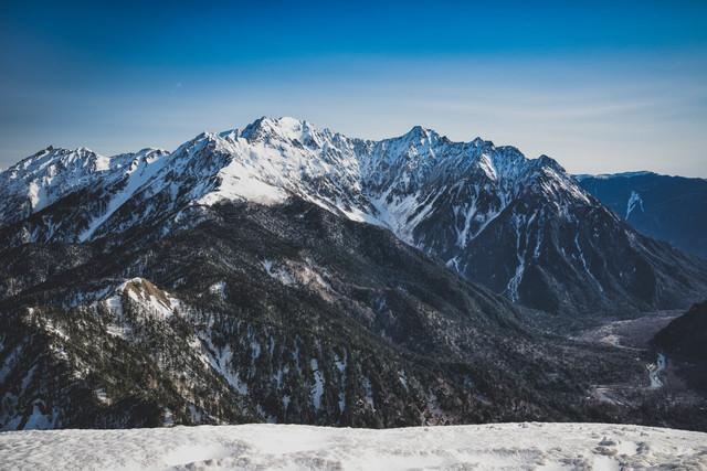 雪残る穂高連峰(北アルプス)の写真