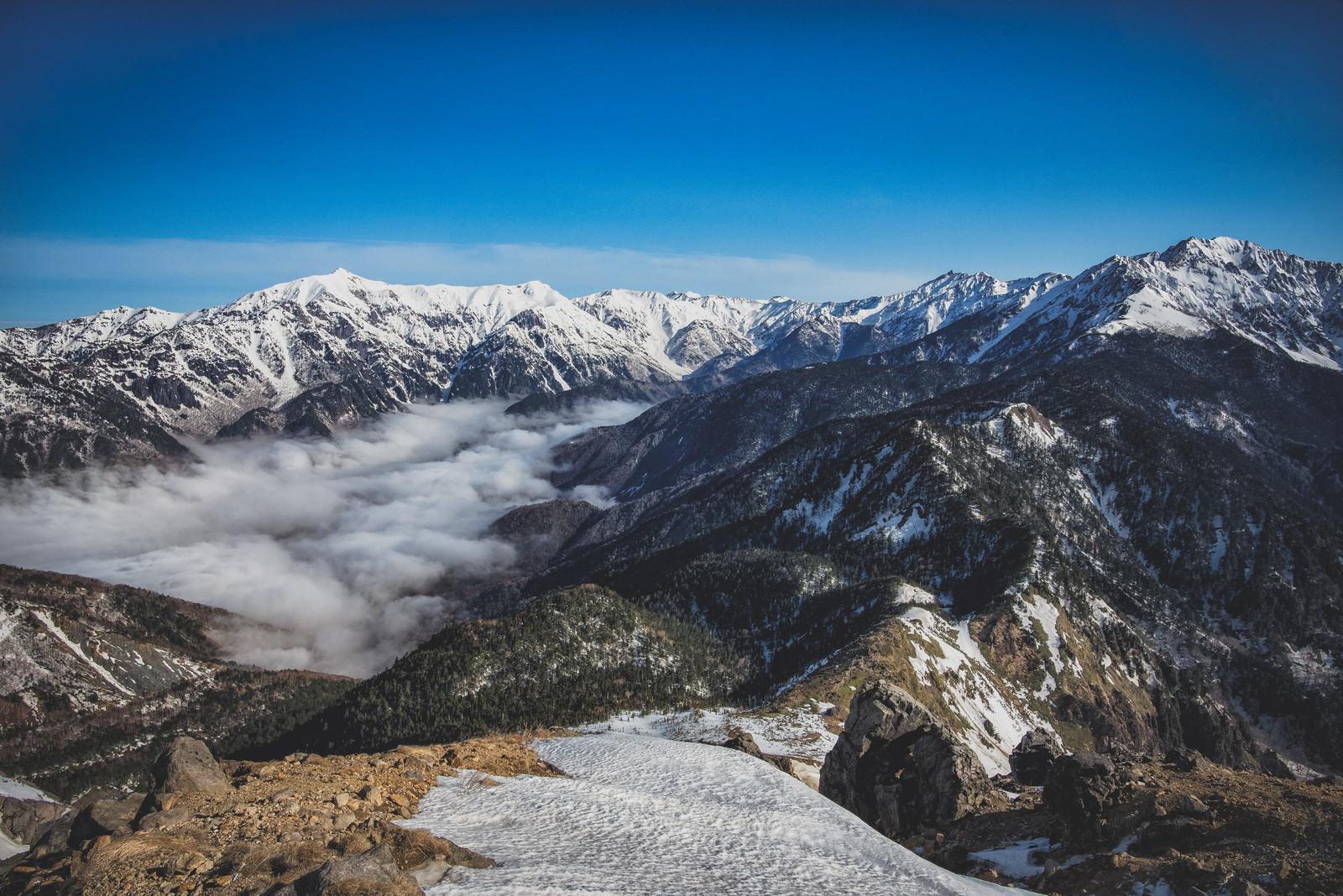 「焼岳の大パノラマと稜線(北アルプス)」の写真
