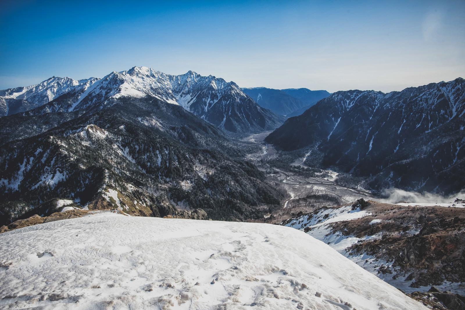 「焼岳山頂の景色(穂高方面)」の写真