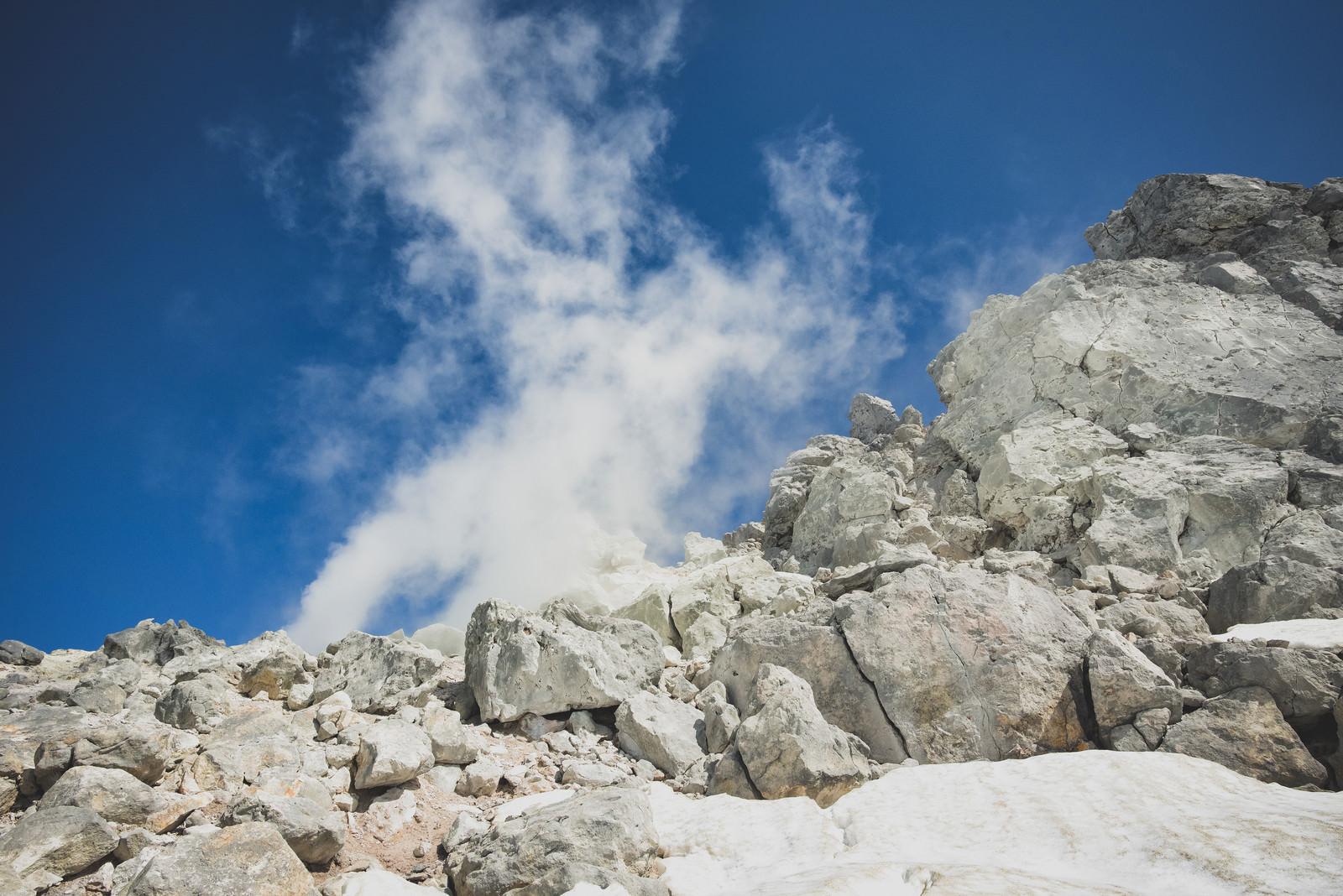 「噴気を噴出す焼岳の噴気孔(北アルプス)」の写真