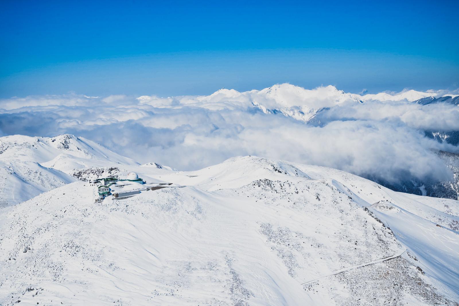 「穂高連峰とコロナ観測所」の写真