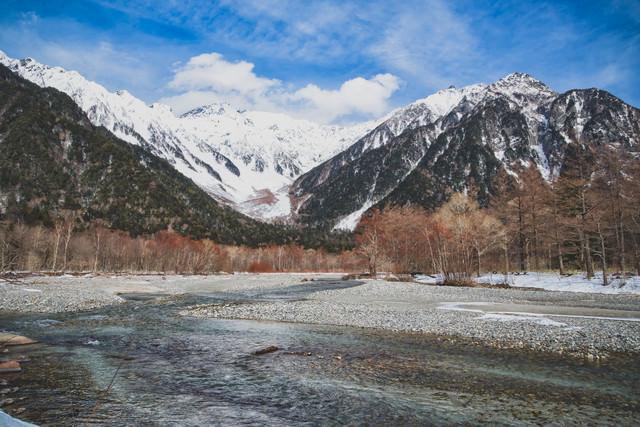 厳冬の上高地から見る穂高連峰と梓川の写真