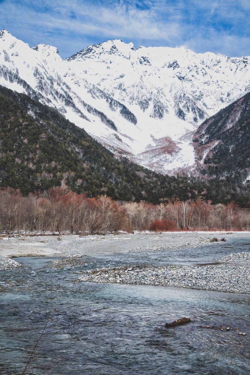 「厳冬の上高地から見る穂高連峰へ続く梓川」の写真