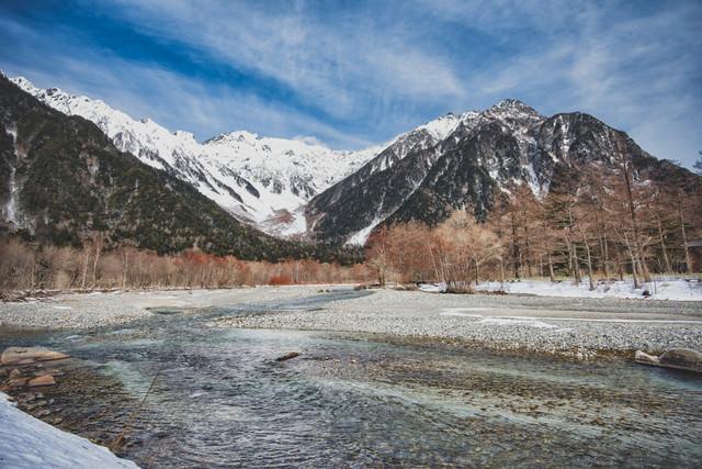 厳冬の穂高連峰と梓川の写真